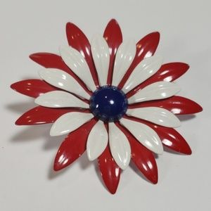 Jewelry - Patriotic Metal Flower Brooch